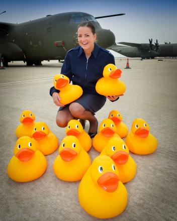 Senior Air Craftsman Monika Dunkley ready for the duck race in Lechlade this May Bank Holiday