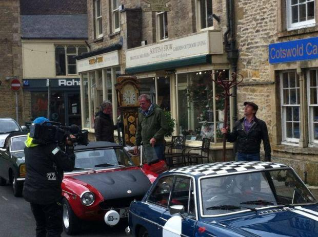 James May, Jeremy Clarkson and Richard Hammond filming for Top Gear with their classic cars in Stow. Picture by Gabby, 11, of Stow Primary School. (Photo from Cotswold Journal)