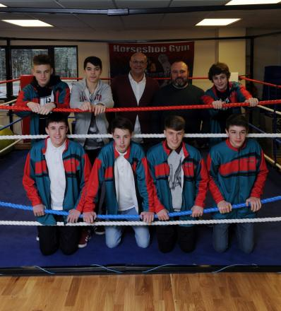 Members of The Horseshoe Boxing Club in Swindon, standing from left to right; Tom Gray, Gary O'Riley, Brian Roberts, Mark Brown and George White. Front row; Kieron Donoghue, George Richardson, Sam Vallis and Jordan Williams (3626582)