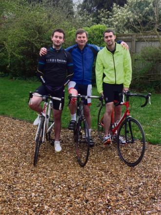 L:R - Jonty Simmons, Alan Simmons and Ross Venus who are taking part in the RideLondon 100 to raise money for Cotswold Care Hospice