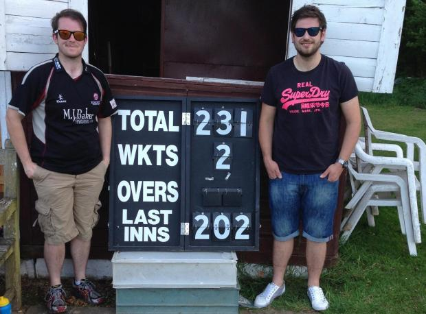 South Cerney's Paul Leyfield, left, and double ton batsman Garrick Chivers after their epic victory over Barnsley Beeches
