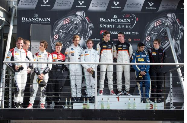 Alessandro Latif, third from left, on the winners' gantry after the Blancpain Sprint Series races at Brands Hatch