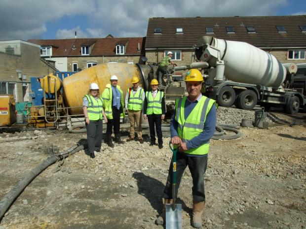 From left: project manager Sarah Walker, contracts manager Christopher Thomas, mayor of Cirencester Joe Harris, regional manager Phil Barnes and site manager John Christie