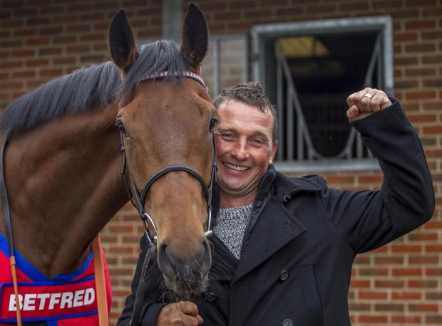 Craig Brazier with the Wiltshire-based horse Chatez that made him a millionaire
