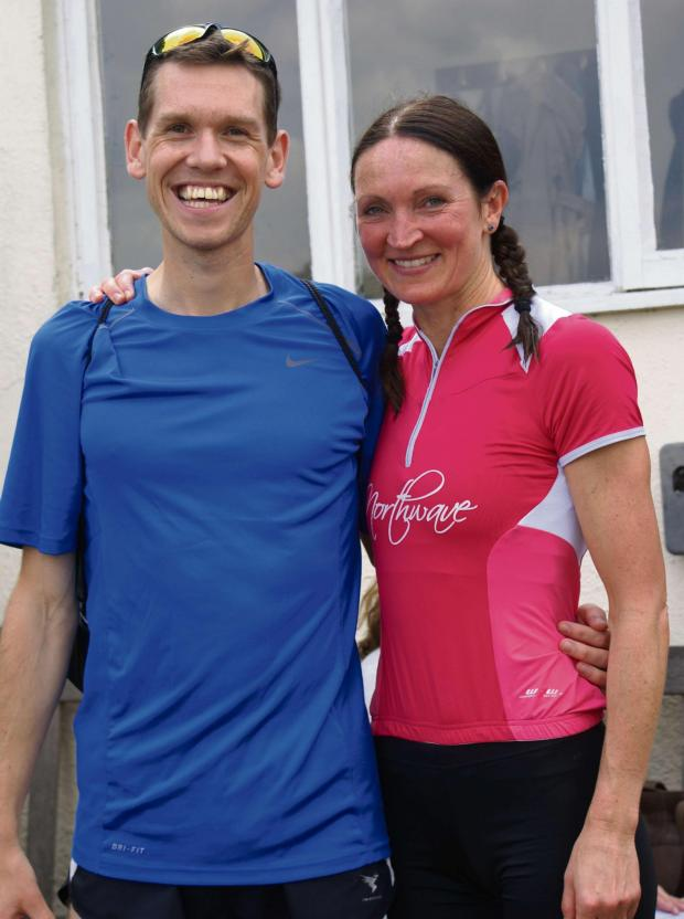Wilts and Gloucestershire Standard: Dave Bell (runner-up) and Wendy Nicholls (winner) after their respective races at the Fairford 10k