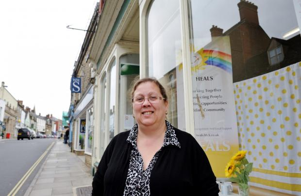 Alison Cross-Jones outside the new HEALS shop and offices in the High Street, Ma
