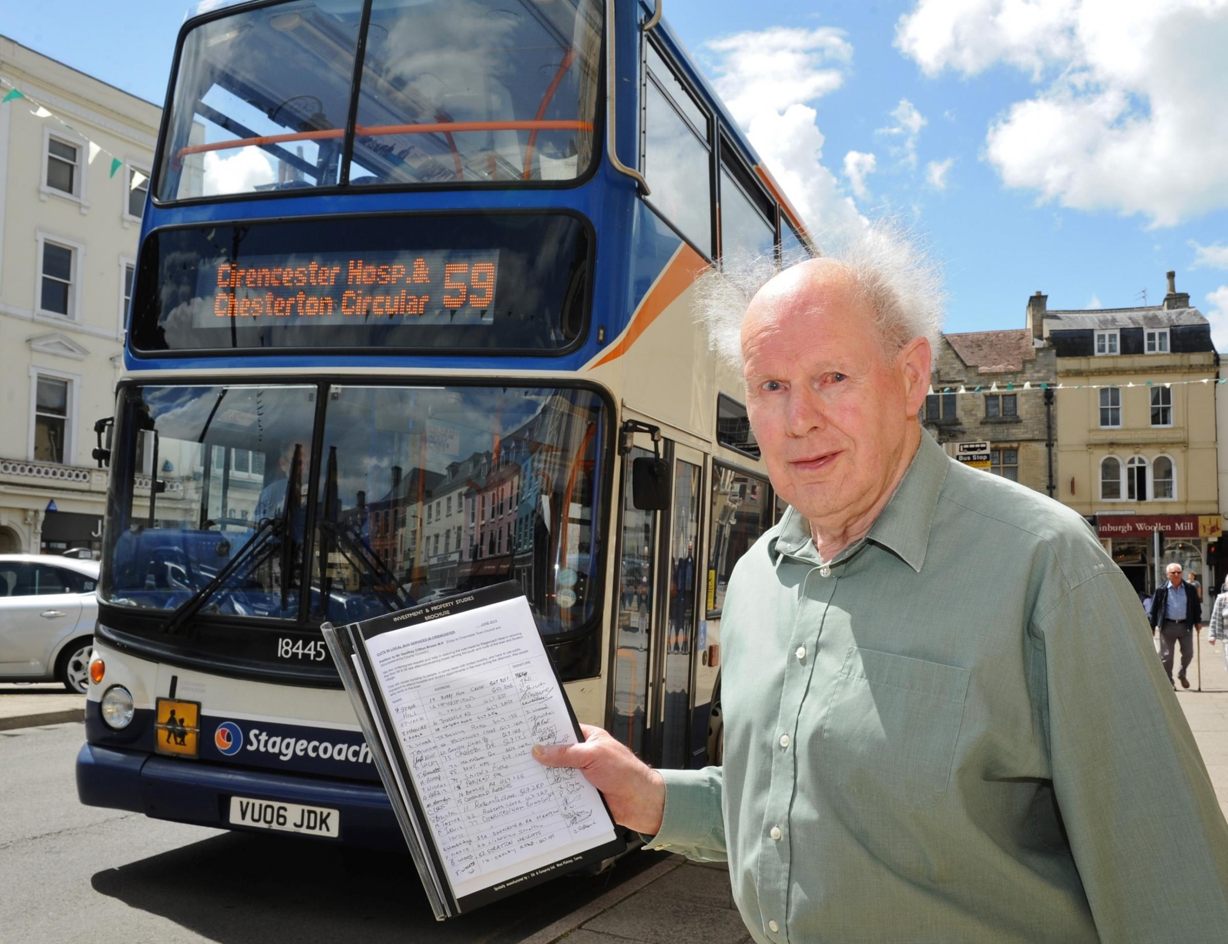 David Prewett is alarmed by bus service cuts in Cirencester