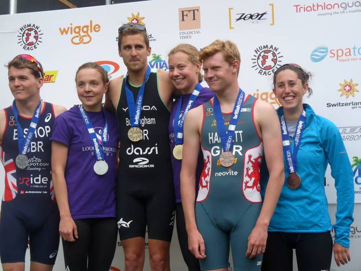 Jenny Manners, third from right, on top of the podium at the British Triathlon Championships alongside Men's winner Mark