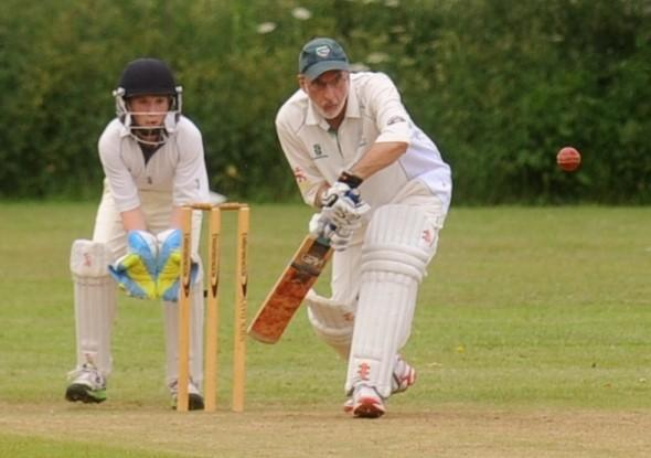 Wilts and Gloucestershire Standard: Cricklade II's batsman Phil Heads and Charlton wicket-keeper James Nixon in the CDCA Div Three match (7181292)