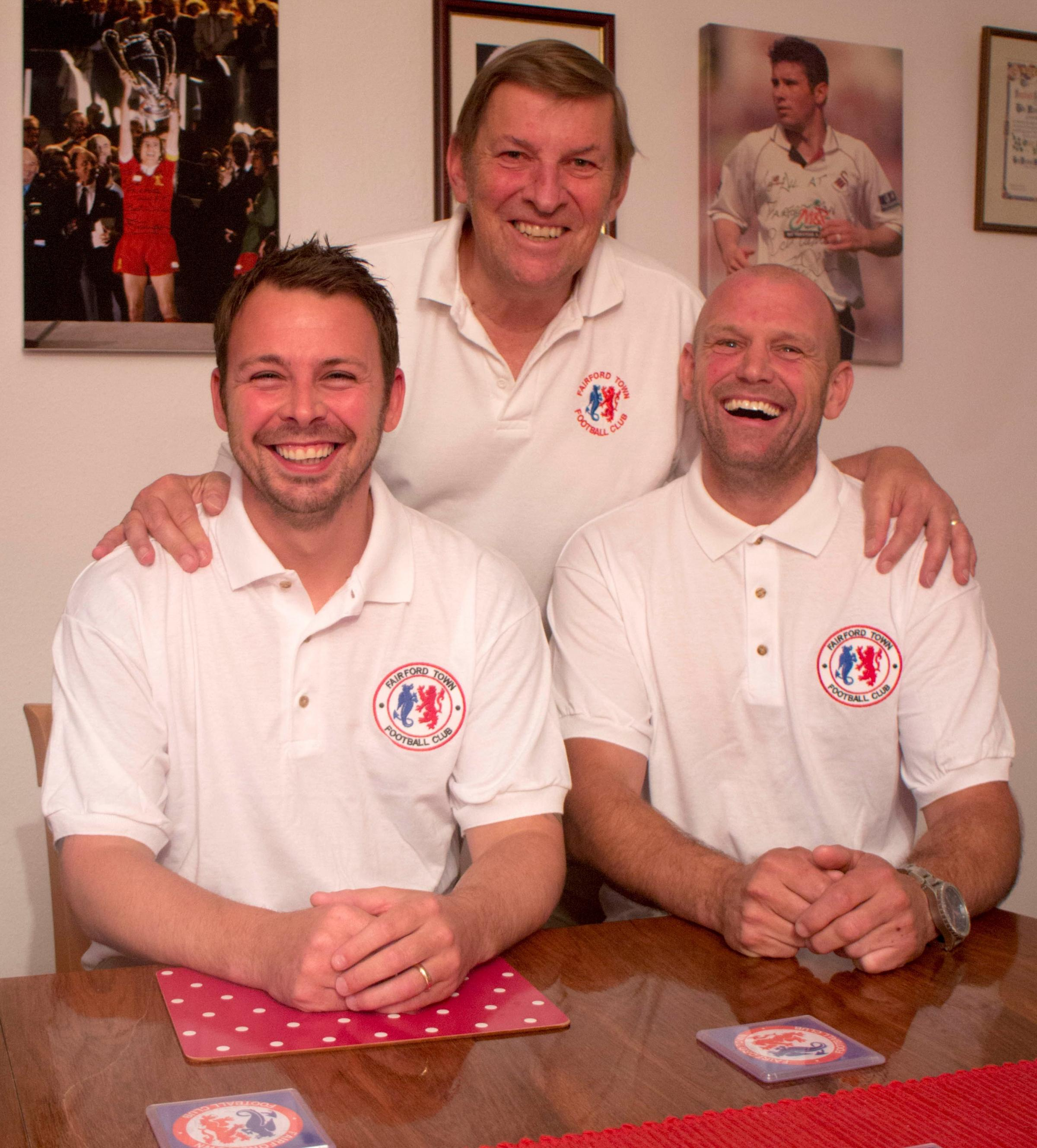 Fairford Town president Mike Tanner, centre, with the club's new management team, Gareth Davies and Ady Roper (7387504)