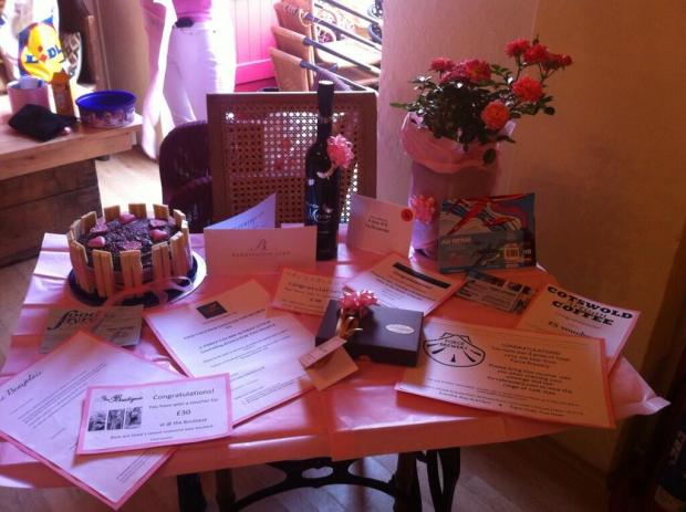 The raffle prizes were generously donated by local businesses
