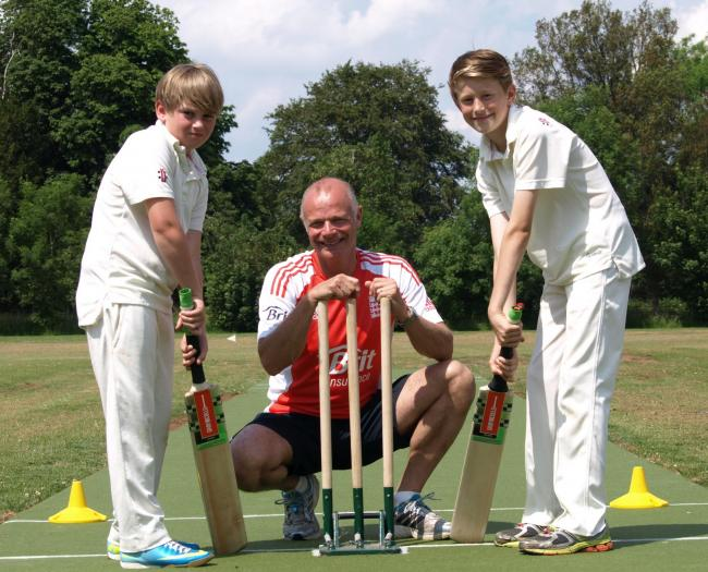 Ex-England cricketer Paul Jarvis with 10-year-old Westonbirt Prep pupils Gabriel Evans, left, and Elliott Cook at the launch of the schools' all-weather cricket pitch
