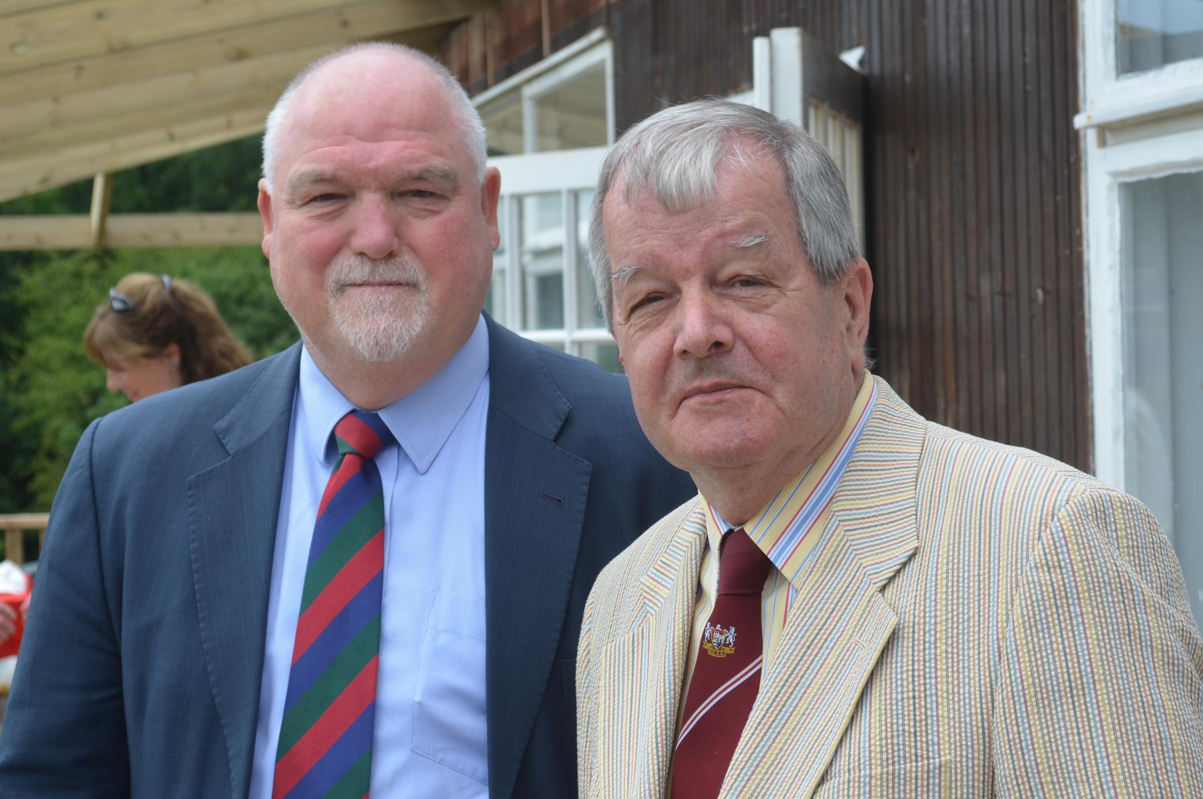Two presidents together - Mike Gatting of the MCC and Standard columnist John Light also of Gloucestershire CCC