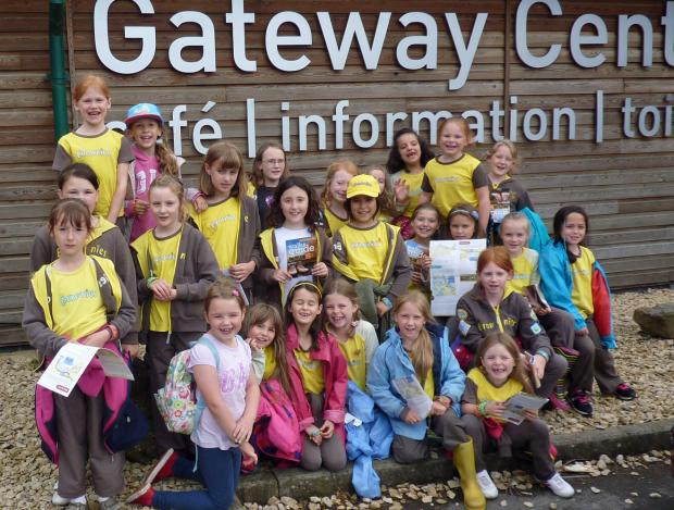 Members of 3rd Royal Wotton Bassett Brownies outside the Gateway Centre(7743325)