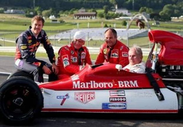 Pictured left to right with the historic 1972 BRM: Sebastian Vettel, Niki Lauda, Gerhard Berger and Helmut Marko