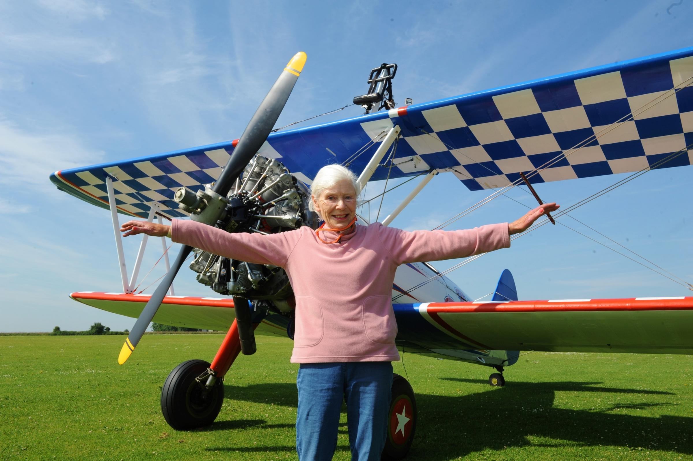82-year-old adrenaline junkie takes on Rendcomb wingwalking challenge