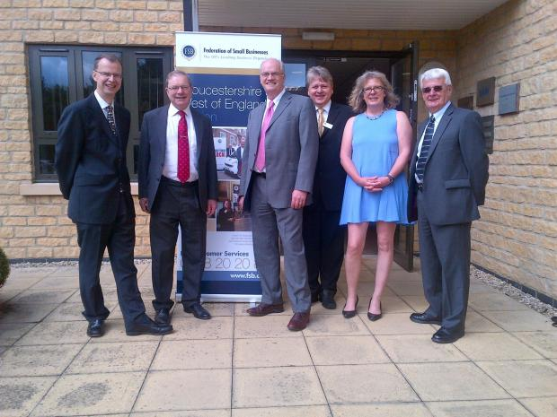 L:R - Russell Warner, Cotswold MP Geoffrey Clifton-Brown, Terry Lockwood, Sam Holliday, Lesley Burgess and Roger Sillick