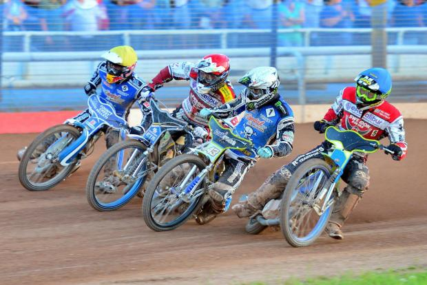 Wilts and Gloucestershire Standard: Hard-fought battle (left to right): Majiec Janowski, Peter Kildemand, Darcy Ward, Troy Batchelor (8153026)