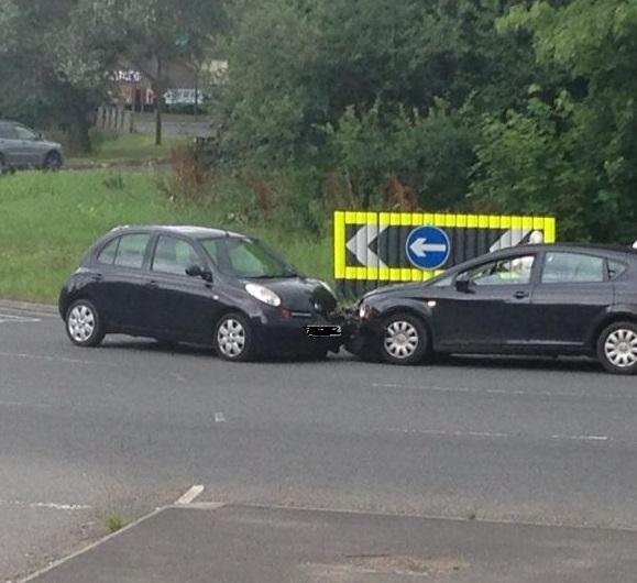The crash which happened yesterday afternoon. Photo sent in by Stephen Gear