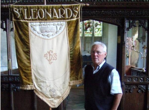 Author Robin Walker with the banner