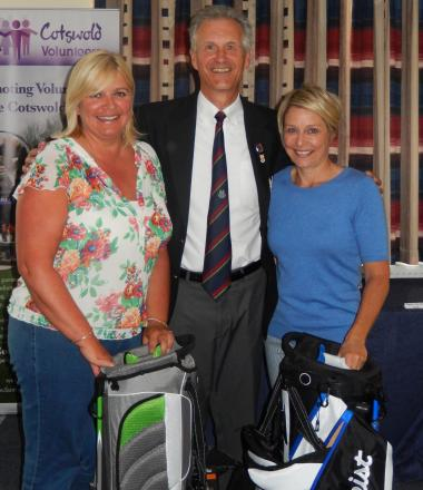 Captain's Day winners Debbie Organ, left, and Sam Mitchell, right, with Cirencester captain Mark Woodhead (8691865)