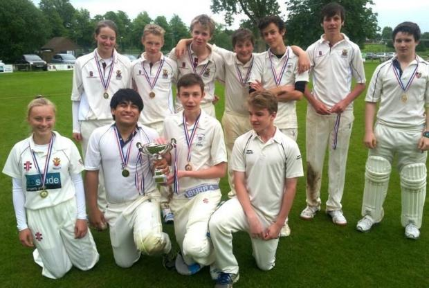 Cirencester Cricket Club's U15s team with the District Cup (9101398)