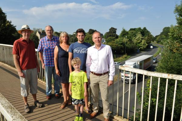 Richard Holmes, Barrie Mills, Joanna Walker and son Peter, 6, Joe Harris and Paul Hodgkinson who are calling for speed restrictions on the Cirencester ring road (8615994)