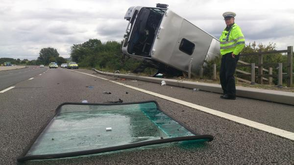 Air ambulance on M5 as coach overturns