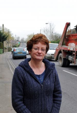 Sue Coakley in Thames Street, Lechlade, where traffic pollution has been recorded over the acceptable levels (9678103)