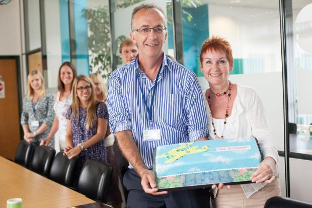 Howard and Kathryn Toplis at Greensquare Group for the surprise thank you Photo: The Open University (9782325)