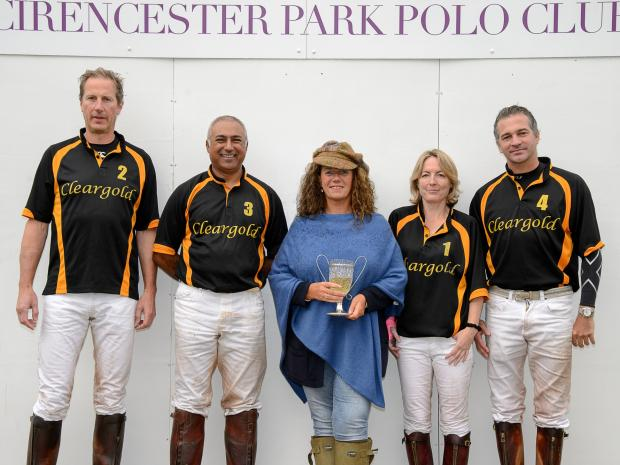VWH polo winners (left to right): Chris Fagan, Mahesh Parmar, Siobhan Fagan and Ivan Rubinich being presented with their trophy by Lady Bathurst. Picture: Tom Reynolds