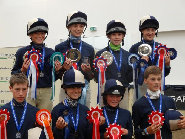 The successful Beaufort Hunt Pony Club team at the National Tetrathlon Championships