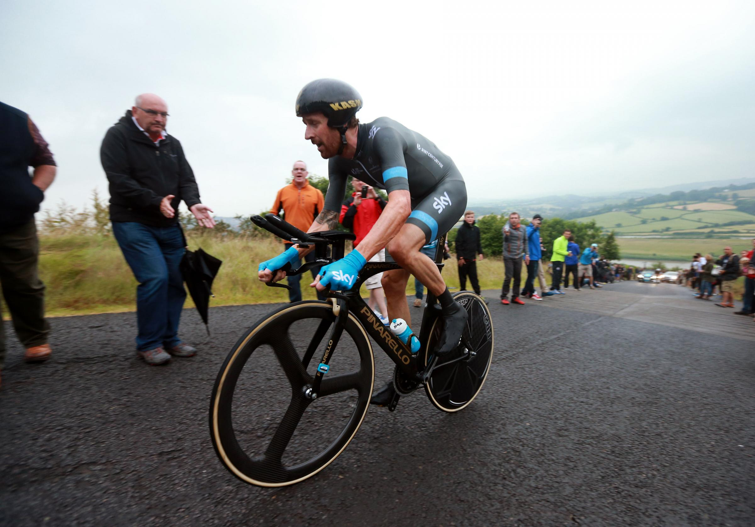 Sir Bradley Wiggins in action during day one of the National Time Trial Championships, Monmouthshire. Picture: David Davies/PA Wire