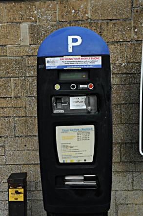 A pay and display machine in the Forum car park, Cirencester