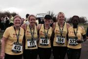 Running Somewhere Else club members at the Swindon 10k (left to right): Caroline Terry, Hali Kinson, Elizabeth Clark, Kirsty Pitts and Sally Jamieson