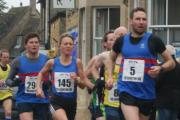 Bourton Roadrunners trio in blue (left to right): Ross Kent, Shona Crombie-Hicks and Tim Heming at the Bourton 10k. Picture: Chris Dry