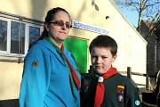 Beaver Scout Leader Rachael Hailstone with her son Robin, nine, outside the 1st Cirencester Scout Hut which was vandalised