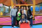 Mark Roux-Nel, Clare Case, Ollie Case, Gareth Case, Jasmine Roux-Nel and  Nolleen Roux-Nel enjoying the funfair at the festival