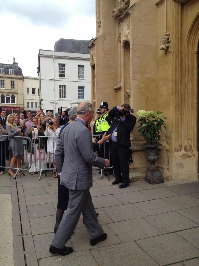 HRH The Prince of Wales arrives at St. John the Baptist's Church
