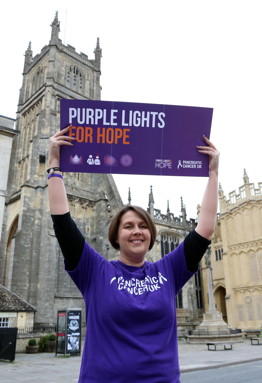 Sarah Dennis outside Cirencester Parish Church