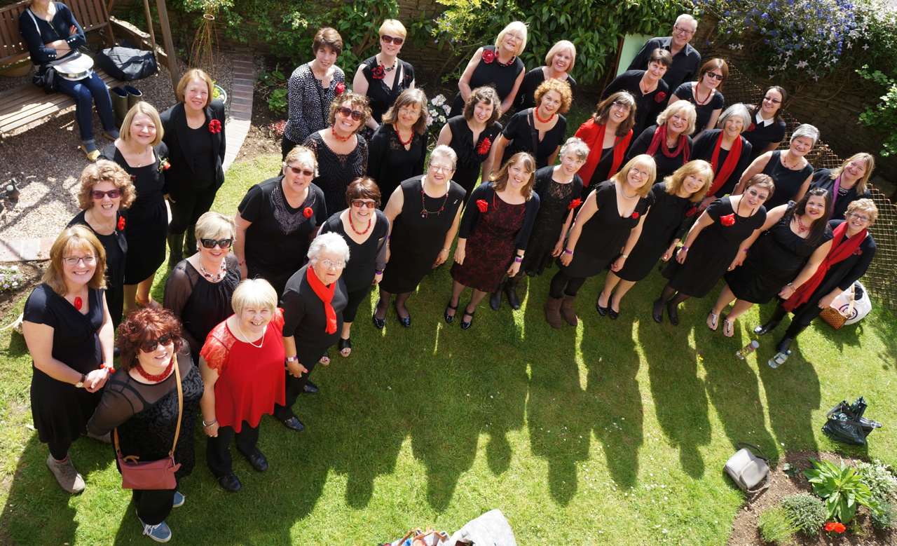 A Splash of Red, a choir from Fairford, will perform at the Royal Albert Hall to raise money for Cancer Research UK (credit Claire Lee)
