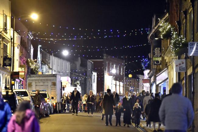 Malmesbury High Street lit up for Late Night Christmas Shopping last Friday. Photo by Diane Vose