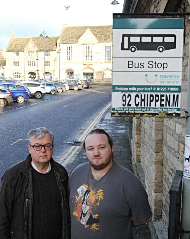Cllr Gavin Grant and Stuart Causer at one of the bus stops in the centre of Malmesbury