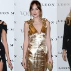 Wilts and Gloucestershire Standard: Strike a pose: Dakota Johnson, Karlie Kloss and Suki Waterhouse looked stunning at the Vogue 100 launch event