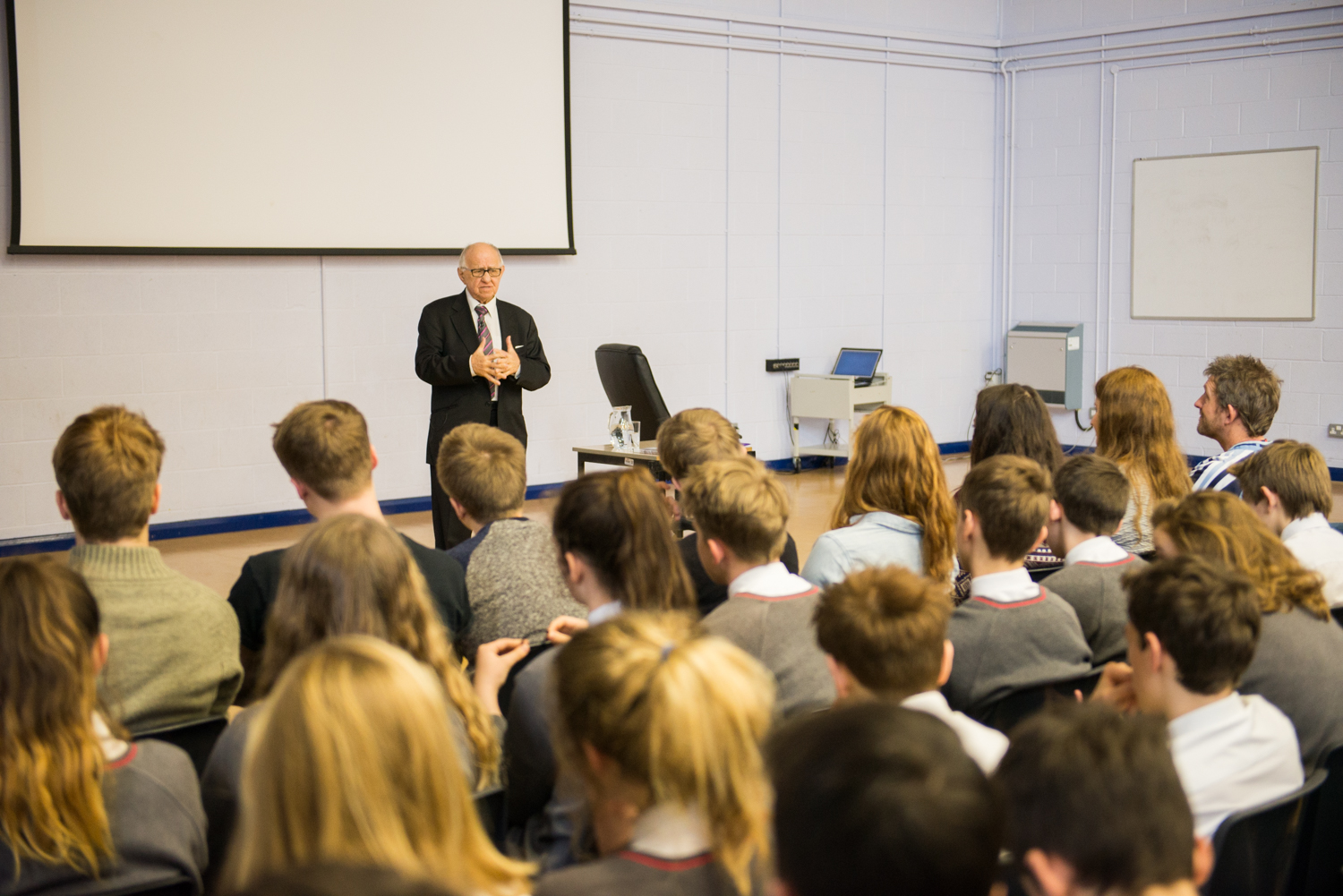 Holocaust survivor Zigi Shipper speaks to pupils at Malmesbury School about his experiences
