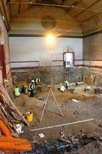 Workers unearthed the remains during renovation work