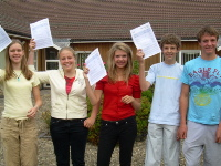 Farmor's School pupils celebrating their results, form left to right, Sarah McTiernan, Katie Smith, Harriet Thomas, Tom Freeman and Duncan Scrivens