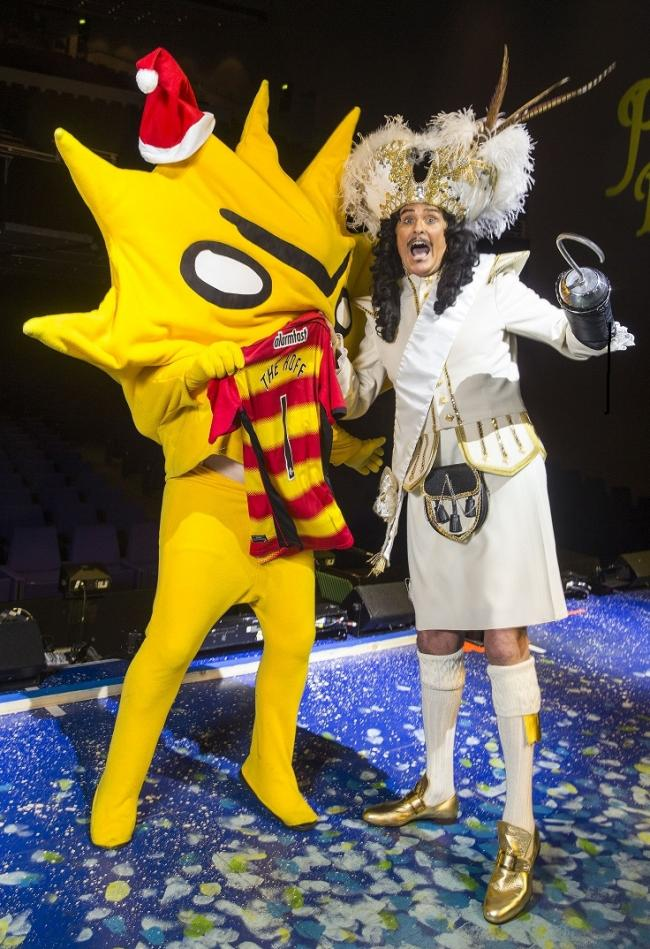 Partick Thistle fan David Hasselhoff who played Captain Hook in a Glasgow over Christmas, with the club's mascot Kingsley, which was designed by the Turner Prize-nominated artist David Shrigley