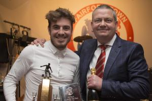 Josh Morse, who picked up two Fairford Town Player of the Year awards, with chairman Stuart Pike. Pic: Ainscow Pictures)
