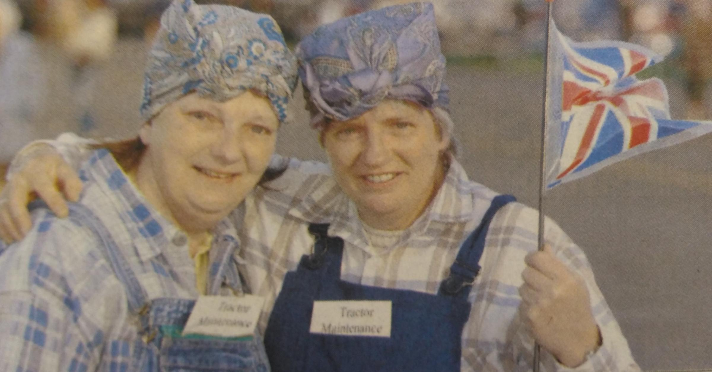 Sisters Elizabeth Russell and Wendy Taylor are pictured here, proudly dressed as Land Girls.